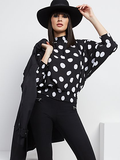 Dot-Print Dolman-Sleeve Top - New York & Company
