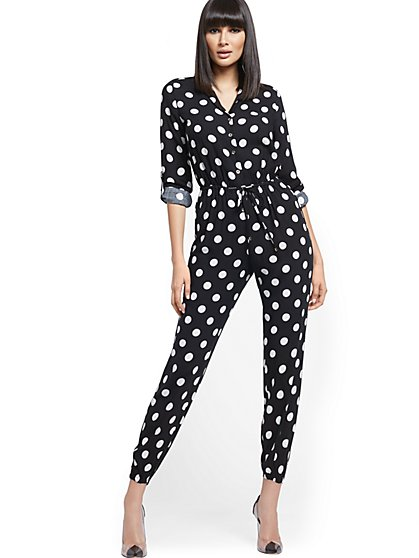 Dot-Print Drawstring-Tie Jumpsuit - New York & Company