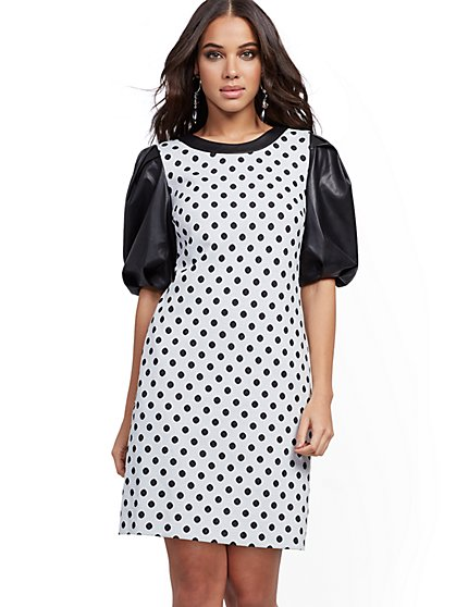 Dot-Print Faux Leather-Sleeve Shift Dress - New York & Company