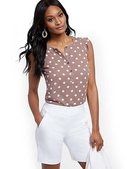 Dot-Print Flutter-Sleeve Blouse - New York & Company