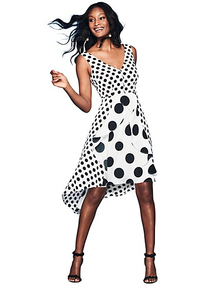 Dot-Print Hi-Lo Dress - New York & Company