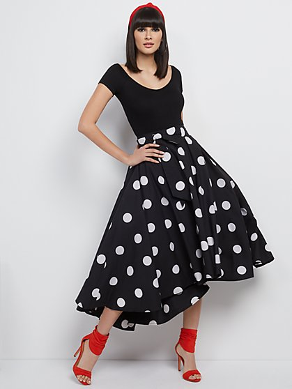 Dot-Print Hi-Lo Poplin Skirt - New York & Company