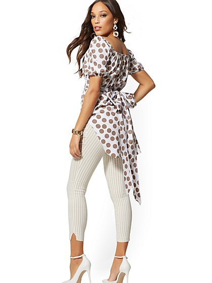 Dot-Print Hi-Lo Poplin Wrap Shirt - New York & Company
