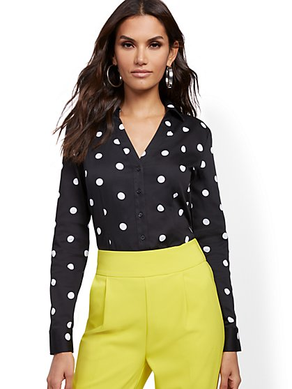 Dot-Print Madison Stretch Shirt - Secret Snap - 7th Avenue - New York & Company