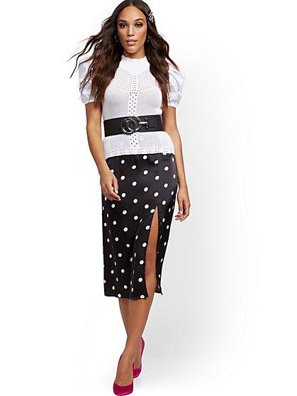 Dot-Print Midi Slip Skirt - 7th Avenue - New York & Company