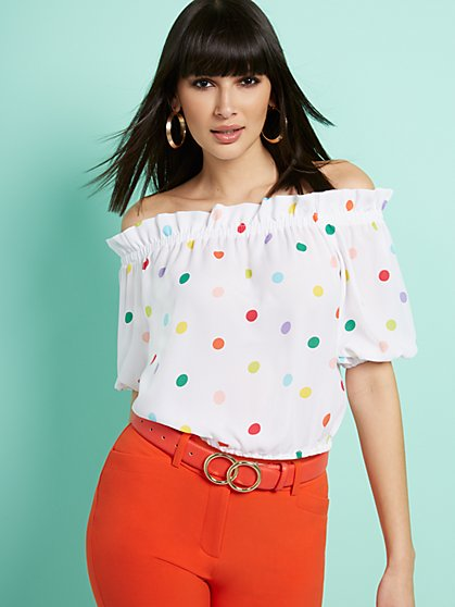 Dot-Print Off-The-Shoulder Blouse - 7th Avenue - New York & Company