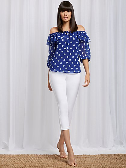 Dot-Print Off-The-Shoulder Blouse - Sweet Pea - New York & Company