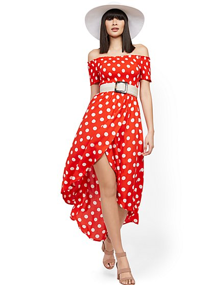 Dot-Print Off-The-Shoulder Hi-Lo Wrap Maxi Dress - New York & Company