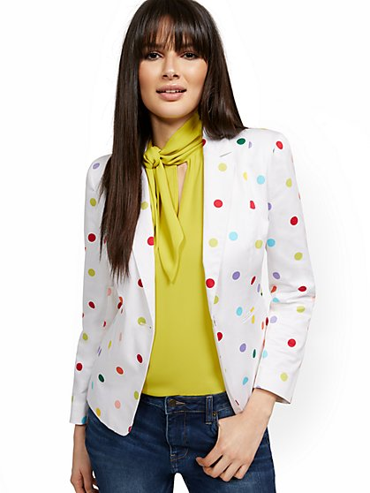 Dot-Print One-Button Jacket - 7th Avenue - New York & Company