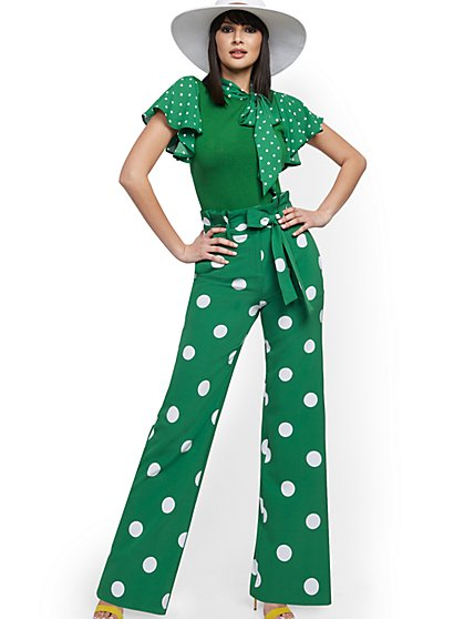 Dot-Print Palazzo Pant - 7th Avenue - New York & Company