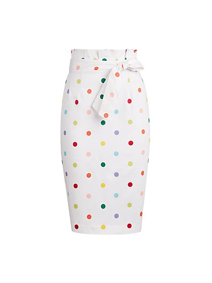 Dot-Print Paperbag-Waist Pencil Skirt - 7th Avenue - New York & Company