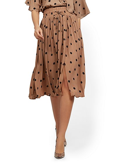 Dot-Print Pleated Skirt - New York & Company