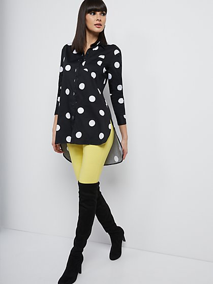 Dot-Print Poplin Hi-Lo Tunic Shirt - 7th Avenue - New York & Company