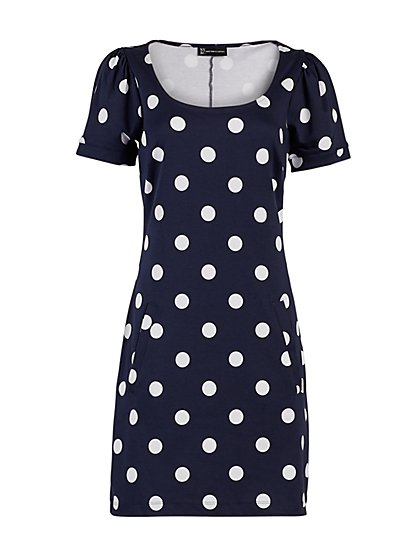 Dot-Print Puff-Sleeve Cotton Shift Dress - New York & Company
