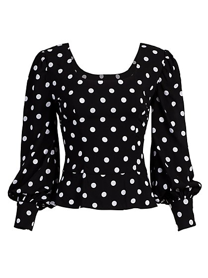 Dot-Print Puff-Sleeve Peplum Top - New York & Company