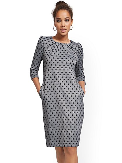 Dot-Print Puff-Sleeve Shift Dress - Superflex - New York & Company