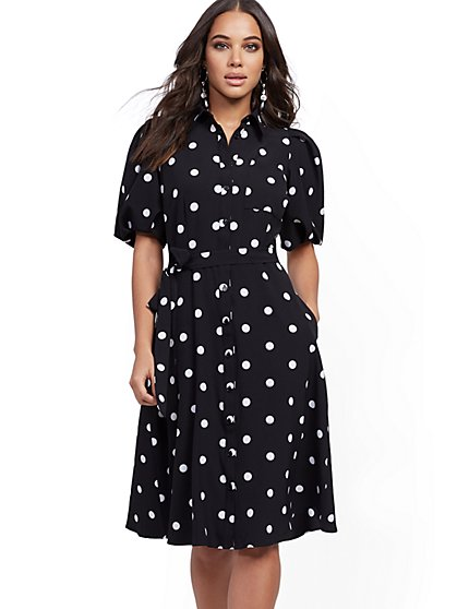 Dot-Print Puff-Sleeve Shirtdress - New York & Company