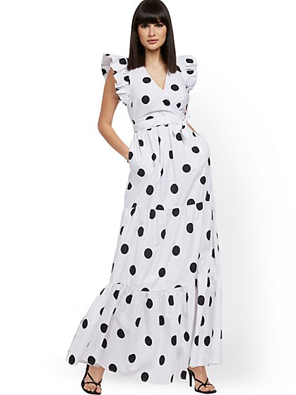 Dot-Print Ruffle-Sleeve Poplin Maxi Dress - New York & Company