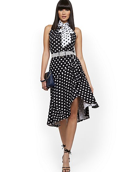 Dot-Print Ruffled Midi Skirt - 7th Avenue - New York & Company