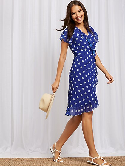Dot-Print Ruffled Wrap Dress - Sweet Pea - New York & Company