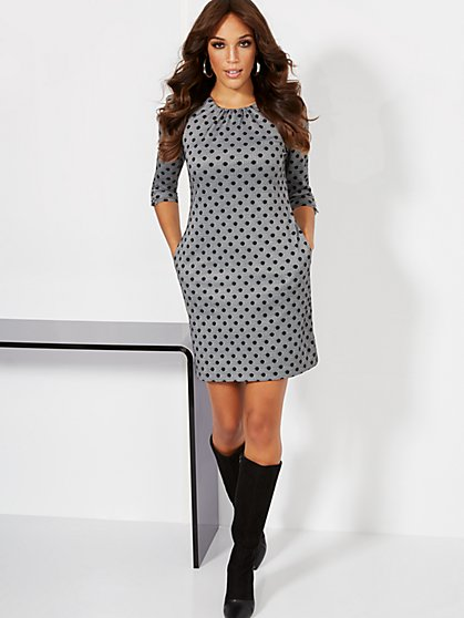 Dot-Print Shift Dress - New York & Company