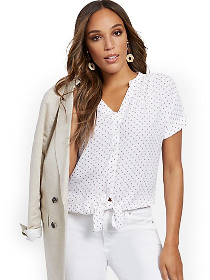 Dot-Print Tie-Front Short-Sleeve Blouse - New York & Company