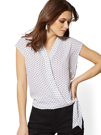 Dot-Print Tie-Front Wrap Blouse - Soho Soft Shirt - New York & Company