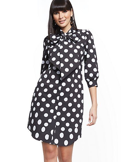 Dot-Print Tie-Neck Poplin Shirtdress - New York & Company