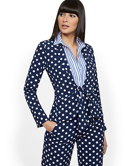 Dot-Print Tie-Waist Jacket - 7th Avenue - New York & Company