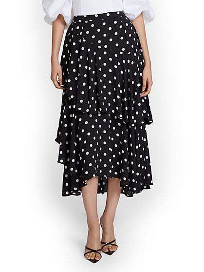 Dot-Print Tiered Midi Skirt - New York & Company