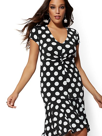 Dot-Print Twist-Front Dress - New York & Company