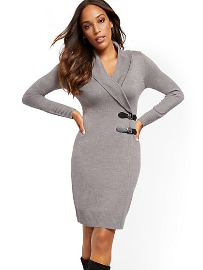 Double Buckle-Accent Sweater Sheath Dress - 7th Avenue - New York & Company