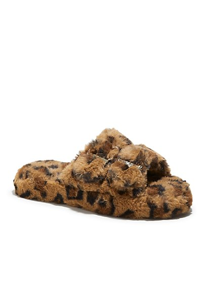 Double-Buckle Faux Fur Slippers - Leopard Print - New York & Company