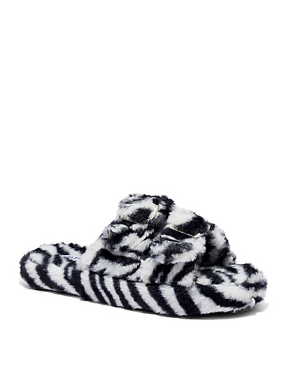 Double-Buckle Faux Fur Slippers - Zebra Print - New York & Company