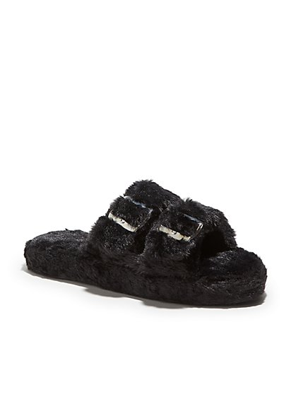 Double-Buckle Faux-Fur Slippers - New York & Company