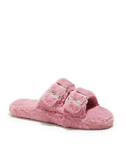 Double-Buckle Faux Fur Slippers - New York & Company