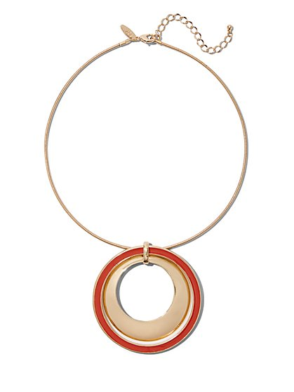Double-Circle Pendant Collar Necklace - New York & Company