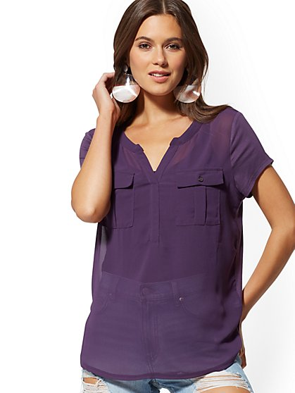 Double-Pocket V-Neck Top - New York & Company