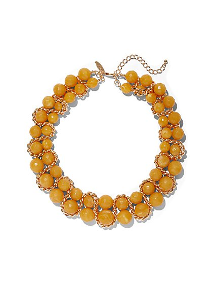 Double-Row Beaded Collar Necklace - New York & Company
