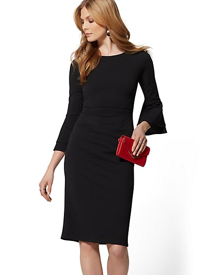 Double Ruffle Sheath Dress - Magic Crepe - 7th Avenue - New York & Company