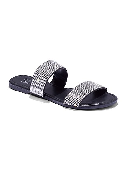 Double-Strap Glitter Slide Sandals - New York & Company