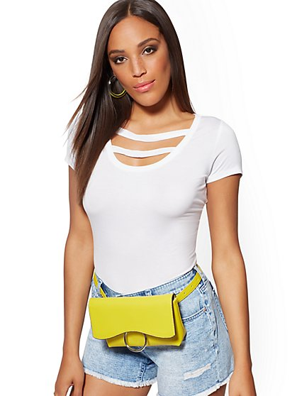 Double-Strap Scoopneck Top - Soho Soft Tee - New York & Company