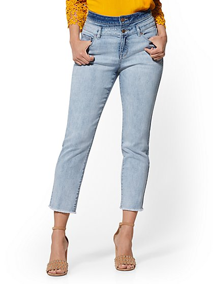 Double-Waistband High-Waist Straight-Leg - Soho Jeans - New York & Company