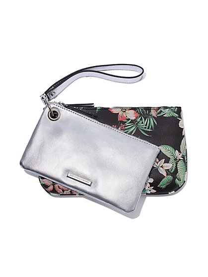 Double-Zip Floral & Metallic Pouch Set - New York & Company