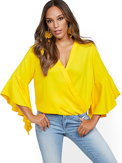 Drama-Sleeve Wrap Blouse - New York & Company