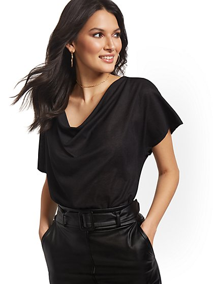 Drape-Front Flutter-Sleeve Top - Sweet Pea - New York & Company