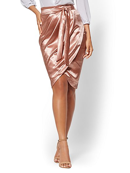 Draped Rose Satin Wrap Skirt - New York & Company