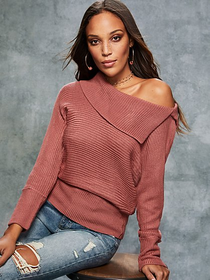 Draped Split-Neck Dolman Sweater - New York & Company