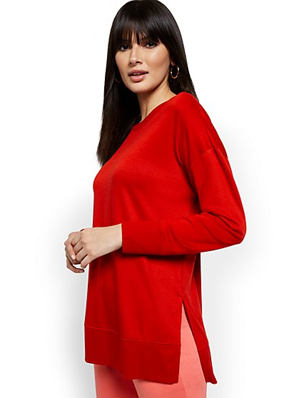 Drapey Side-Slit Tunic Top - New York & Company