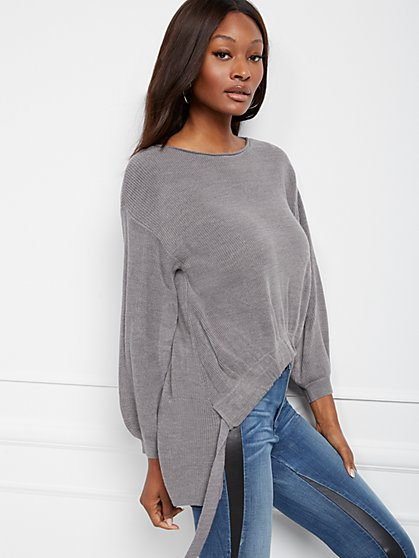 Drawstring Hi-Lo Tunic Sweater - New York & Company